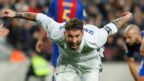 Sergio Ramos celebrates after equalising for Real Madrid at Barcelona