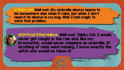 Tabby Cat Well met. My umbrella always seems to be somewhere else when it rains, but when I don't need it its always in my bag. Wish I had magic to solve that problem.   Official Ethel Hallow Well met, Tabby Cat. I would never get caught in the rain and like my broomstick, would never misplace an umbrella. If anything of mine went missing, I know exactly the witch who would\u2019ve taken it!