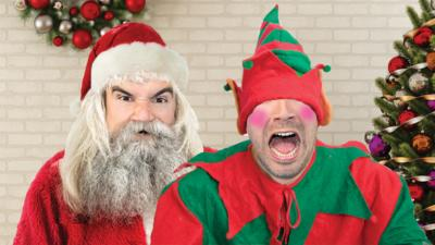 2 CBBC stars disguised with Christmas outfits.