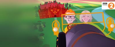 An animated version of Chris Evans and the Duchess of Cornwall flying in the Chitty Chitty Bang Bang car.
