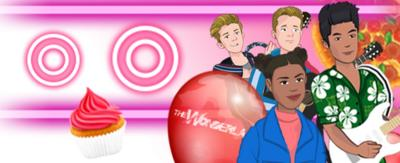 Nate, Chloe, Oakley and Harry from Almost Never are cartoon style in this new Almost Never rhythm game.