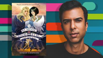 CBBC Book Club Amazing Authors Main Images - Authors Soman Chainani, Roald Dahl and Jacqueline Wilson with their books.