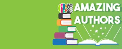 CBBC Book Club Amazing Authors Promo, green background with books and the book club logo