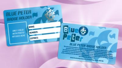 The front and back of a Blue Peter Badge holder card.