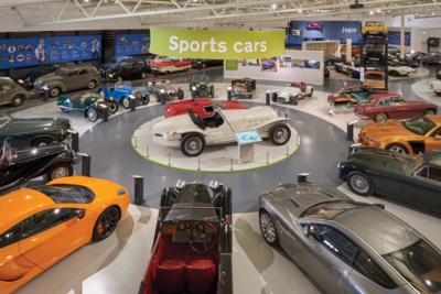 Sports cars on display at the British Motor Museum