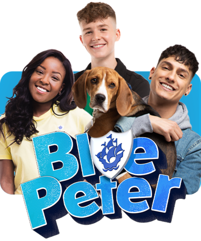 The blue Peter presenters: Adam, Mwaksy, Richie and Henry, the Blue Peter dog.