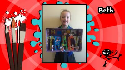 A user's Art Ninja creation, this is a name sculpture for a Book in a Box project for Tracy Beaker.