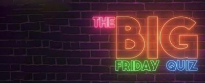 CBBC HQ The Big Friday Quiz in Neon Text on a brick background like a Jazz Club.