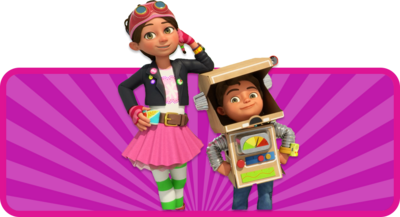 Young animated girl engineer, with green eyes and brown hair. She is wearing white and green stripey socks, a pink skirt, a black jacket and a red hat with goggles on it. She is standing next to a lilttle boy who is wearing a robot costume made of cardboard.