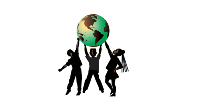 Three silhouettes holding up a globe.