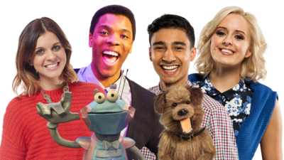 Image with all CBBC HQ Presenters and Puppets