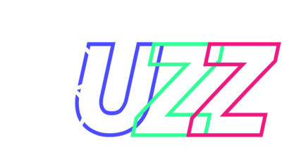 The word 'buzz' is spelled with each letter in a different colour.