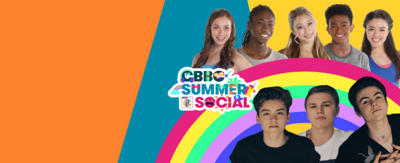 Image shows cast members of The Next Step, including Amy, Henry, Richelle, Kingston and Piper, as well as the New Hope Club. Bright rainbow emoji is used in background.