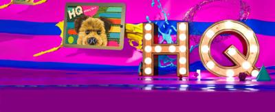 CBBC HQ Secondary Promotion. CBBC HQ Logo on a 3D Purple background.