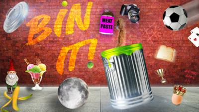 CBBC HQ Bin It Item. With a bin on a street with items flying around, like banana skin, an egg, playing cards and a camera.