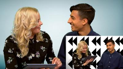 CBBC HQ - Katie and Karim take the backwards challenge!