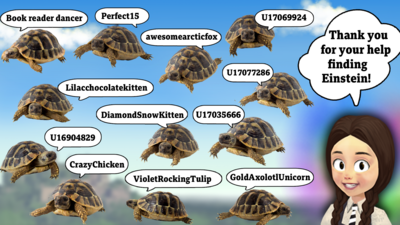 3D mildred with speech bubble saying text 'thank you for your help finding Einstien'. There are many images of tortoises with usernames of those who have completed challenge 1.