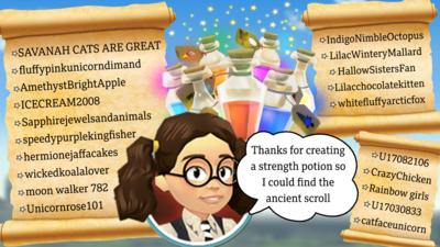 Image shows 3D Maud with speech bubble that reads 'thanks for creating a strength potion so I could find the ancient scroll'. There are potion bottles and magical stars, and scrolls with all the names of users who completed challenge two.