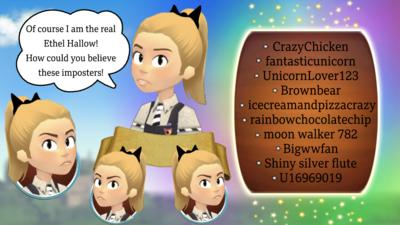 Image shows four images of Ethel Hallow, one has speech bubble that reads 'of course i am the real Ethel Hallow! How could you believe these imposters!'. There is a list of the top ten usernames that commented first to say that had completed challenge three. Stars and mist surround the images.