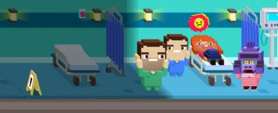 8-bit game graphics of Dr Chris and Dr Xand standing next to a hospital bed and a purple gorilla.