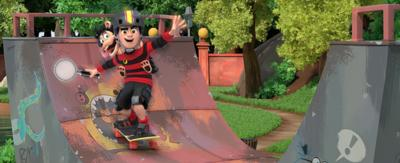 Dennis and Gnasher are skating on a half pipe whilst holding a magnifying glass.