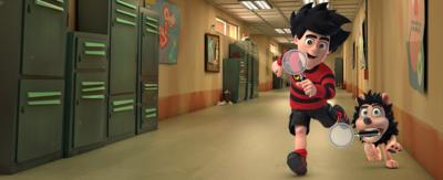 Dennis and Gnasher are carrying magnifying glasses in a school corridor.