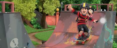 Dennis and Gnasher are skating on a half pipe.