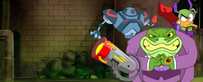Baron Greenback and Count Duckular aim a blaster in this new Danger Mouse game.