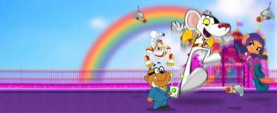 Danger Mouse is on a jet pack in the centre, beside him is Jeopardy Mouse looking at him also jumping. At the front is Penfold holding a remote. They are all in front of a pink castle with a rainbow