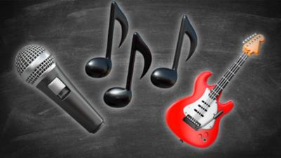 Three musical emojis: A microphone, musical notes and a red guitar.