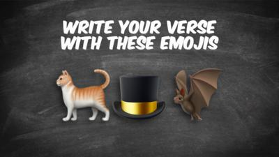 Emojis: Cat, top hat, bat.