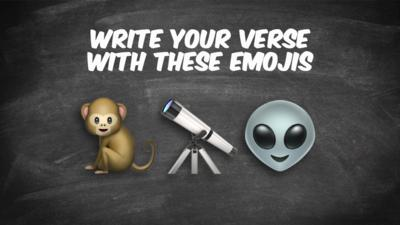 Write a song verse with a monkey, telescope, and an alien.