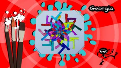 A colourful and abstract picture made only using the letter G.