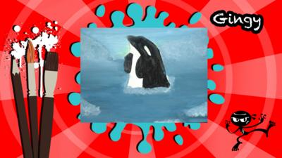 A picture of an orca jumping out of the sea made for Art Ninja.