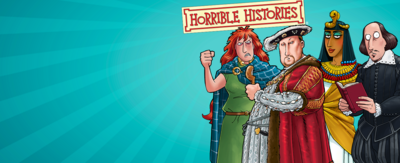 Image shows illustrations of Cleopatra, Henry VIII, Boudicca and Shakespeare. There is the Horrible Histories logo in the middle of the image.