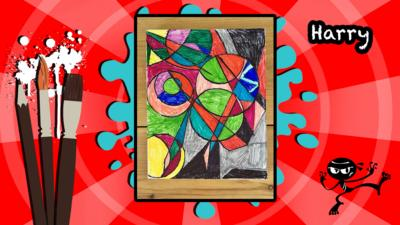 A user's Art Ninja creation, this is a colourful canvas painting inspired by the artist Sonia Delaunay.