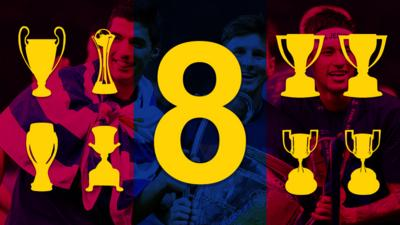 The number 8 and 8 trophies
