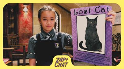 Girl in school uniform holding up lost cat poster. Felicity Foxglove from The Worst Witch.