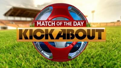 A football logo for Match of the day kickabout on a pitch background.