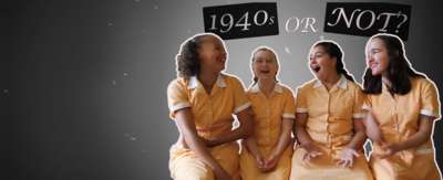 Beth, Imogen, Sienna and Zoey from Malory Towers laughing in front of a 1940s-style film background.