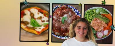 Pizza omelette, salmon poke and meatballs. Matilda Ramsay at the forefront.
