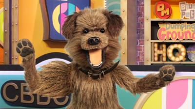 Hacker in the CBBC HQ studio with his paws in the air