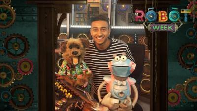 CBBC HQ Name the new Robot presenter with Hacker and Karim in the TARDIS