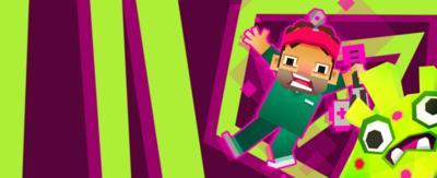Animated Dr Xand falling through portal.