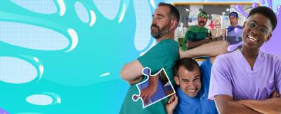 Doctors Ronx, Chris and Xand pose in front of lots of gooey splats in this jigsaw game.