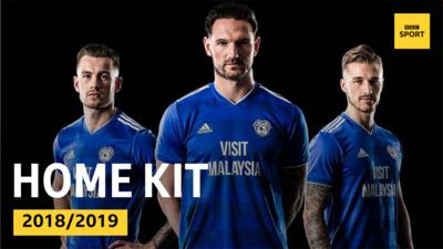 Cardiff City stars in the 2018/2019 Cardiff City home kit.