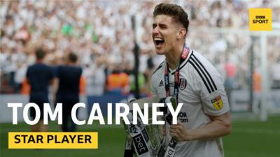 Fulham's captain Tom Cairney celebrating winning the Championship playoff.