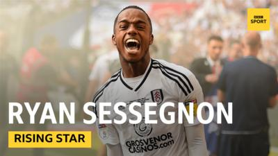 Fulham's English forward Ryan Sessegnon celebrating after winning the playoff final at Wembley.