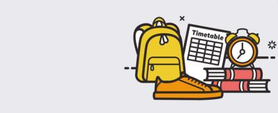 A cartoon sketch of a school nag, books and revision timetable.