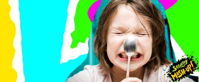 Kid with spoon on nose